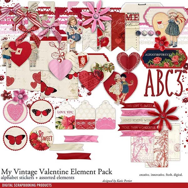 My Vintage Valentine Element Pack Digital Art - Digital Scrapbooking Kits