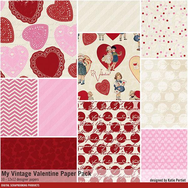 My Vintage Valentine Paper Pack Digital Art - Digital Scrapbooking Kits
