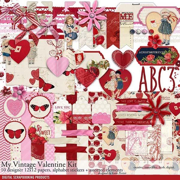 My Vintage Valentine Scrapbook Kit Digital Art - Digital Scrapbooking Kits
