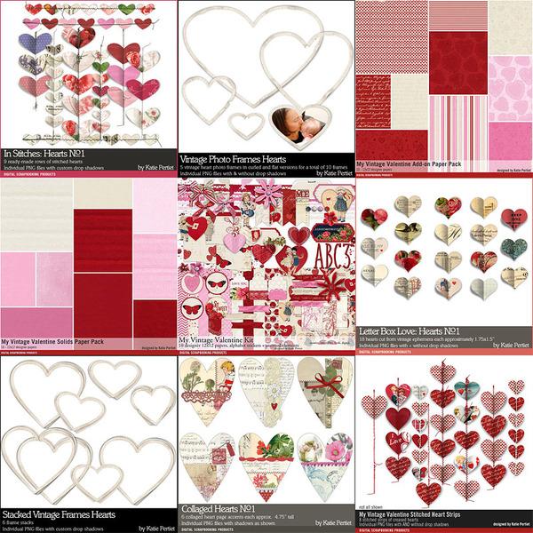 My Vintage Valentine Scrapbooking Bundle Digital Art - Digital Scrapbooking Kits