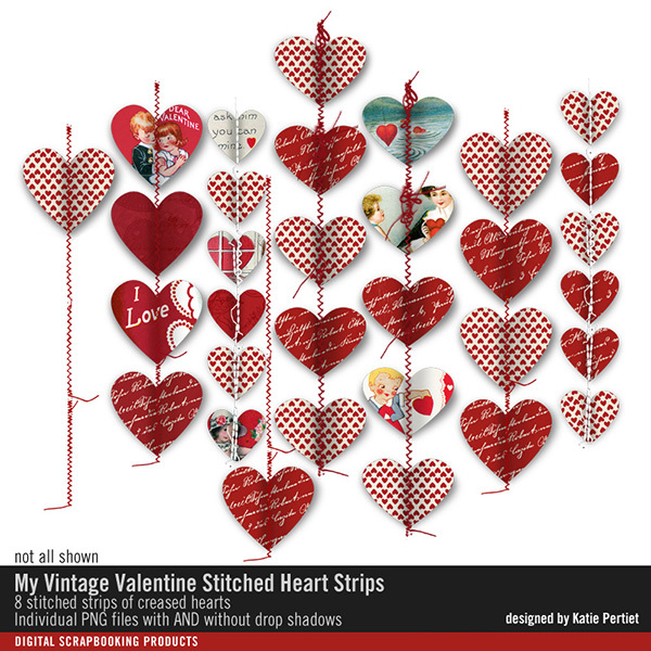 My Vintage Valentine Stitched Heart Strips Digital Art - Digital Scrapbooking Kits