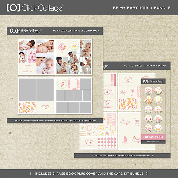 Be My Baby Girl Bundle Digital Art - Digital Scrapbooking Kits