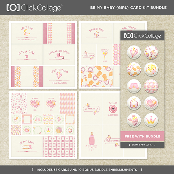 Be My Baby Girl Card Kit Bundle Digital Art - Digital Scrapbooking Kits