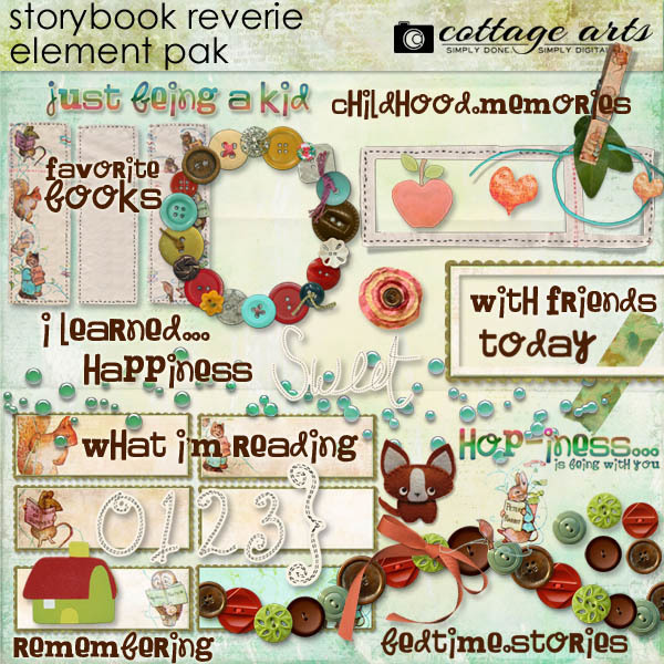 Storybook Reverie Element Pak Digital Art - Digital Scrapbooking Kits