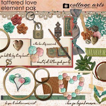 Tattered Love Element Pak Digital Art - Digital Scrapbooking Kits