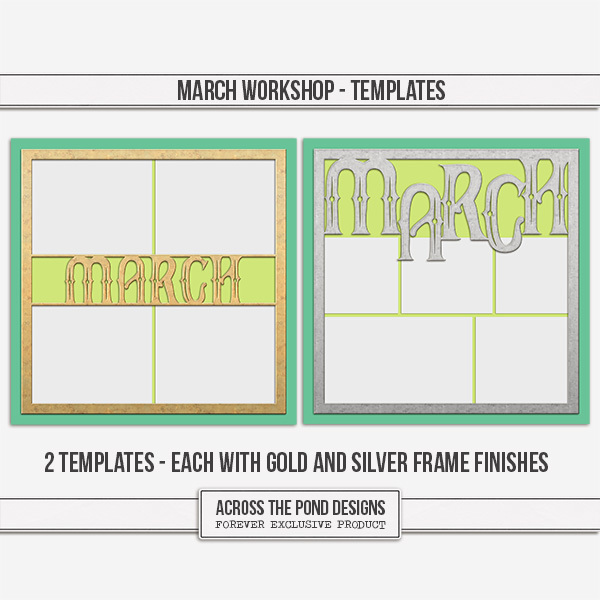 March Workshop - Templates Digital Art - Digital Scrapbooking Kits