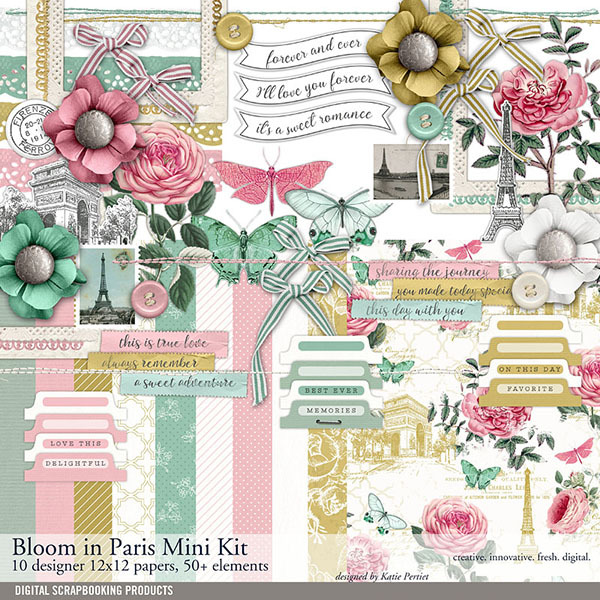 Bloom In Paris Scrapbook Mini Kit Digital Art - Digital Scrapbooking Kits