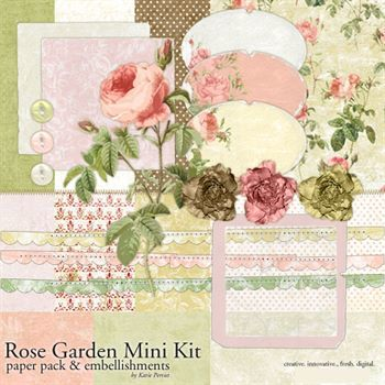 Rose Garden Mini Kit Digital Art - Digital Scrapbooking Kits