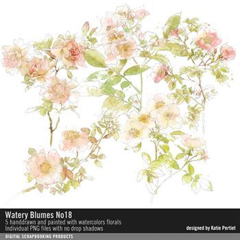 Watery Blumes No. 18 Digital Art - Digital Scrapbooking Kits