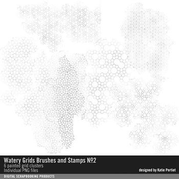 Watery Grids Brushes And Stamps No. 02 Digital Art - Digital Scrapbooking Kits