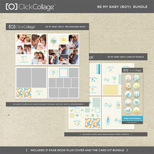Be My Baby Boy Bundle Digital Art - Digital Scrapbooking Kits