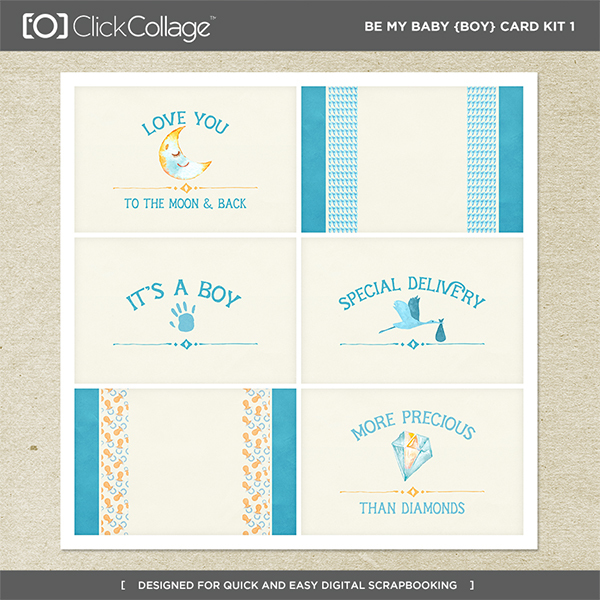 Be My Baby Boy Card Kit 1 Digital Art - Digital Scrapbooking Kits