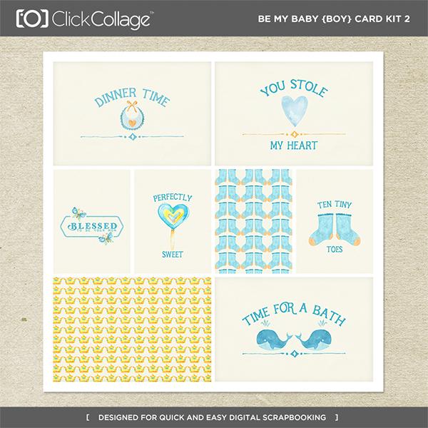 Be My Baby Boy Card Kit 2 Digital Art - Digital Scrapbooking Kits