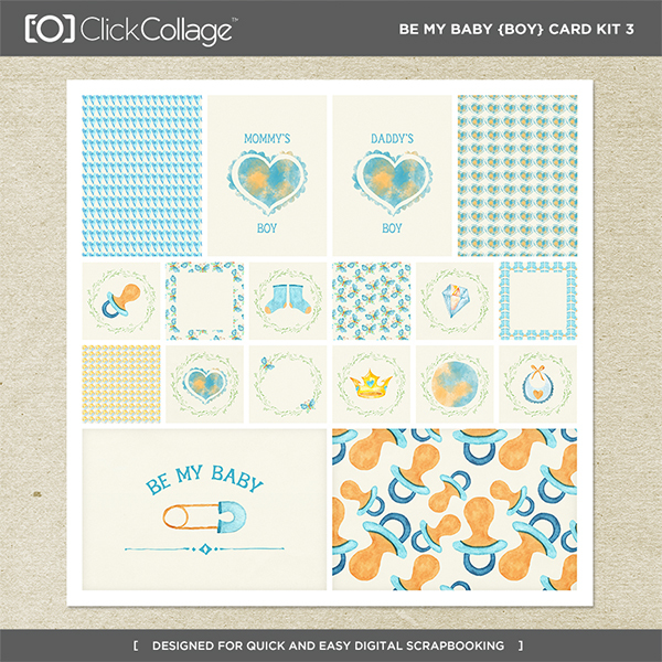 Be My Baby Boy Card Kit 3 Digital Art - Digital Scrapbooking Kits