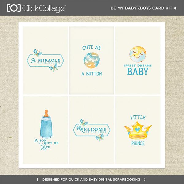Be My Baby Boy Card Kit 4 Digital Art - Digital Scrapbooking Kits