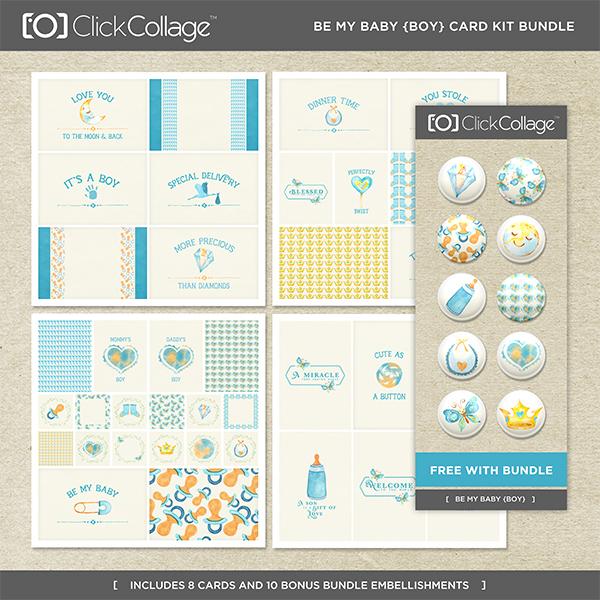 Be My Baby Boy Card Kit Bundle Digital Art - Digital Scrapbooking Kits