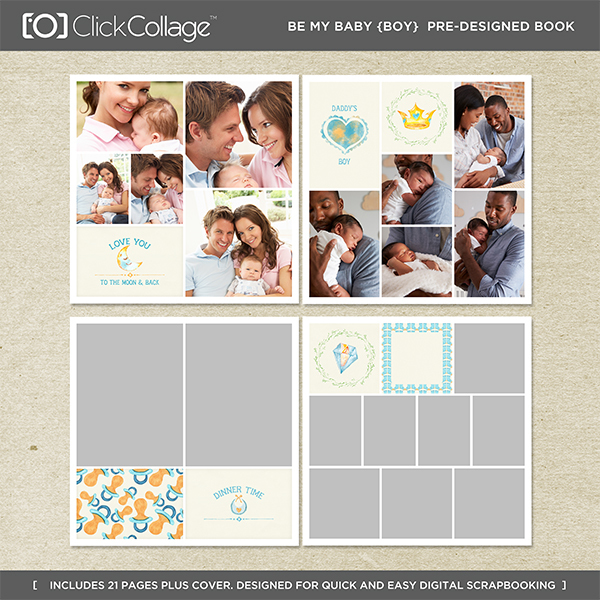 Be My Baby Boy Pre-designed Book Digital Art - Digital Scrapbooking Kits