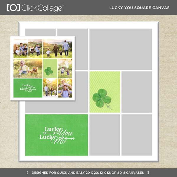 Lucky You Square Canvas Digital Art - Digital Scrapbooking Kits