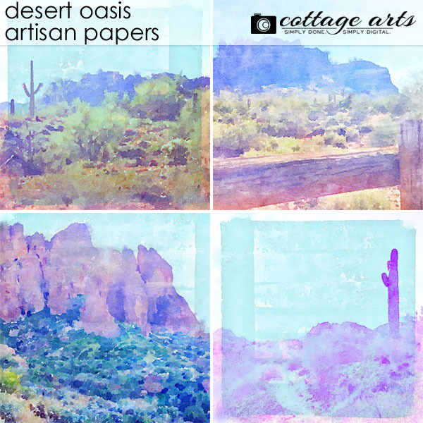 Desert Oasis Artisan Papers Digital Art - Digital Scrapbooking Kits
