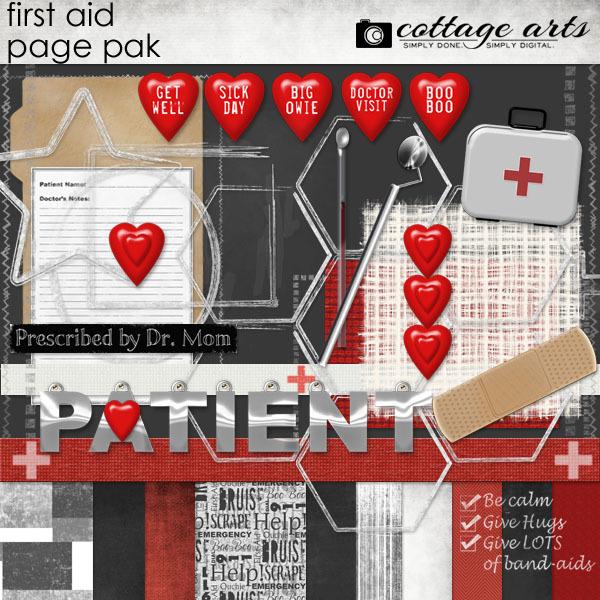 First Aid Page Pak Digital Art - Digital Scrapbooking Kits