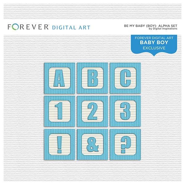 Be My Baby Boy - Alpha Digital Art - Digital Scrapbooking Kits