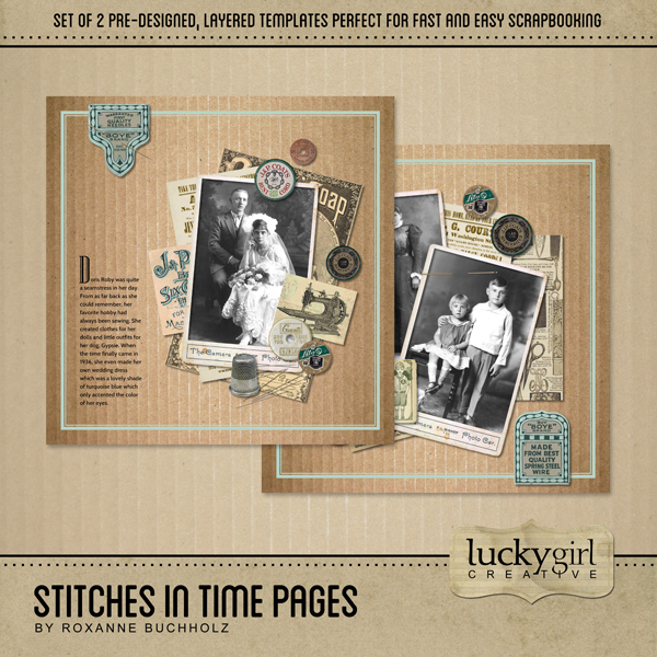 Stitches In Time Pages Digital Art - Digital Scrapbooking Kits