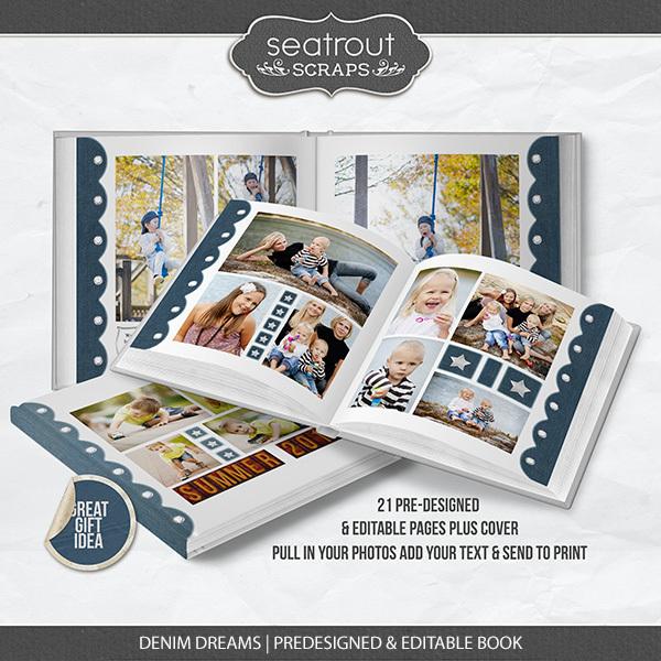 Denim Dreams Predesigned & Editable Book Digital Art - Digital Scrapbooking Kits