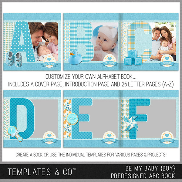 Be My Baby Boy Pre-designed ABC Book Digital Art - Digital Scrapbooking Kits