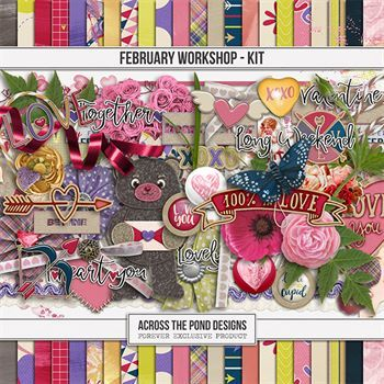 February Workshop - Page Kit Digital Art - Digital Scrapbooking Kits