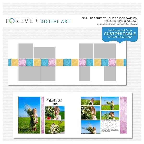 Picture Perfect - Distressed Daisies Pre-designed Book 11 X 8.5 Digital Art - Digital Scrapbooking Kits