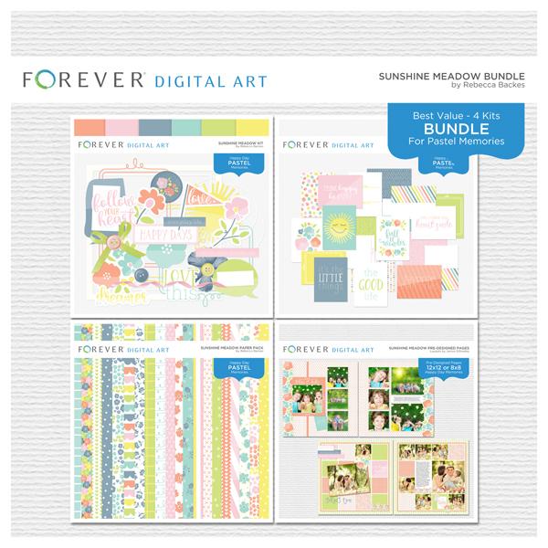 Sunshine Meadow Bundle Digital Art - Digital Scrapbooking Kits