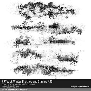 Artpack Winter Brushes And Stamps No. 03 Digital Art - Digital Scrapbooking Kits