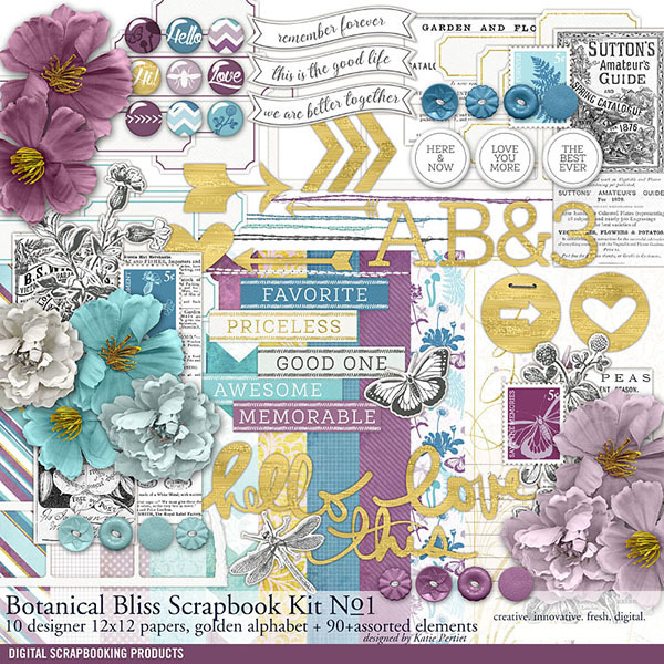 Botanical Bliss Scrapbooking Kit No. 01 Digital Art - Digital Scrapbooking Kits