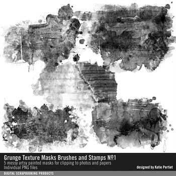 Grunge Texture Masks Brushes And Stamps No. 01 Digital Art - Digital Scrapbooking Kits