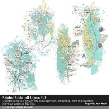 Painted Bookshelf Layers No. 03 Digital Art - Digital Scrapbooking Kits