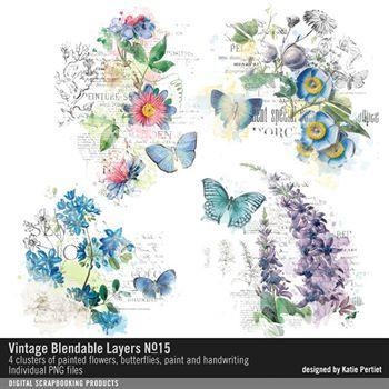 Vintage Blendable Layers No. 15 Digital Art - Digital Scrapbooking Kits
