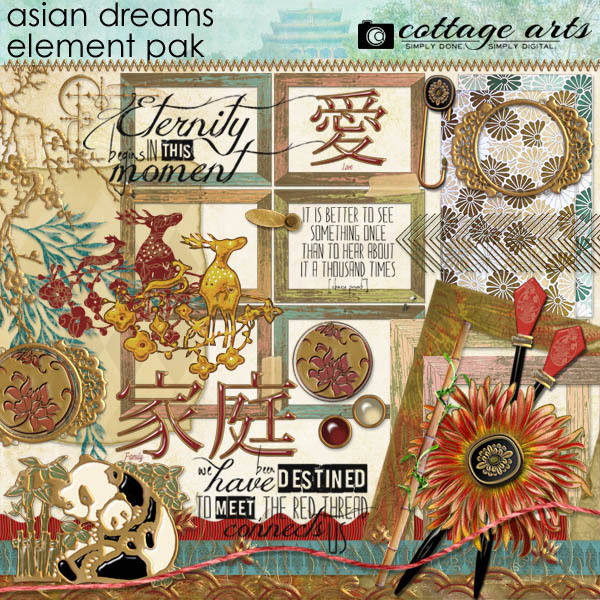 Asian Dreams Element Pak Digital Art - Digital Scrapbooking Kits