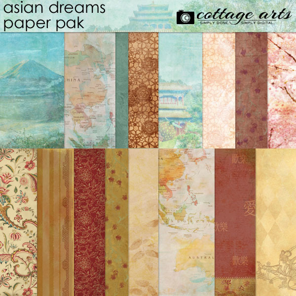 Asian Dreams Paper Pak Digital Art - Digital Scrapbooking Kits