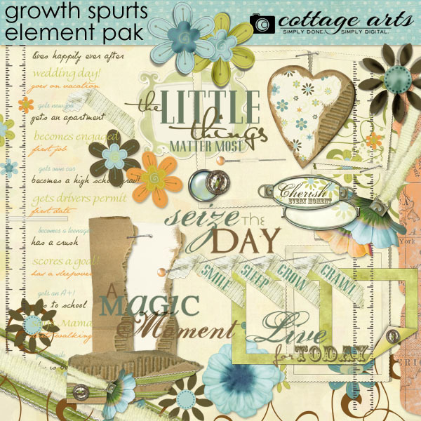 Growth Spurts Element Pak Digital Art - Digital Scrapbooking Kits