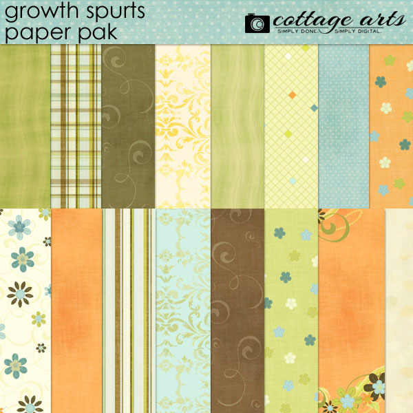 Growth Spurts Paper Pak Digital Art - Digital Scrapbooking Kits