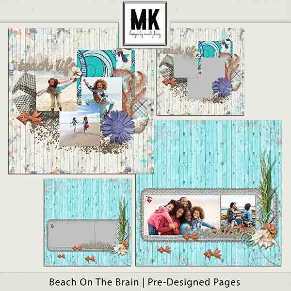 Beach On The Brain Pre-designed Pages Digital Art - Digital Scrapbooking Kits