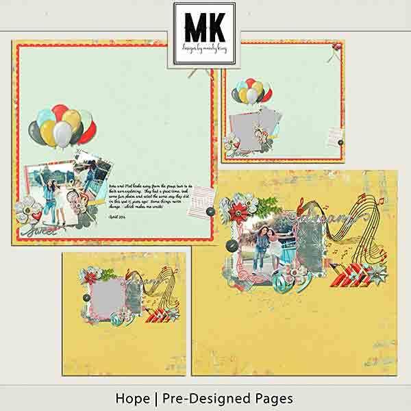 Hope Pre-designed Pages Digital Art - Digital Scrapbooking Kits