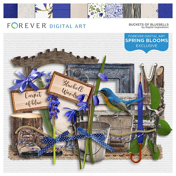 Buckets Of Bluebells Digital Art - Digital Scrapbooking Kits