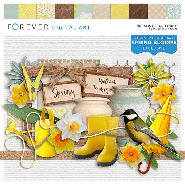 Dreams Of Daffodils Digital Art - Digital Scrapbooking Kits