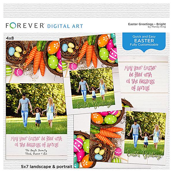 Easter Greetings - Bright Cards Digital Art - Digital Scrapbooking Kits