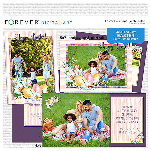 Easter Greetings - Watercolor Cards Digital Art - Digital Scrapbooking Kits