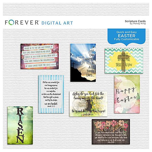 Easter Scripture Cards Digital Art - Digital Scrapbooking Kits
