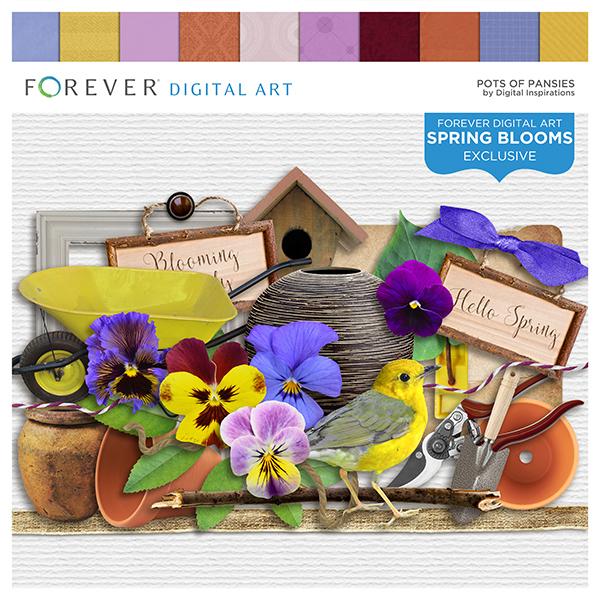 Pots Of Pansies Digital Art - Digital Scrapbooking Kits