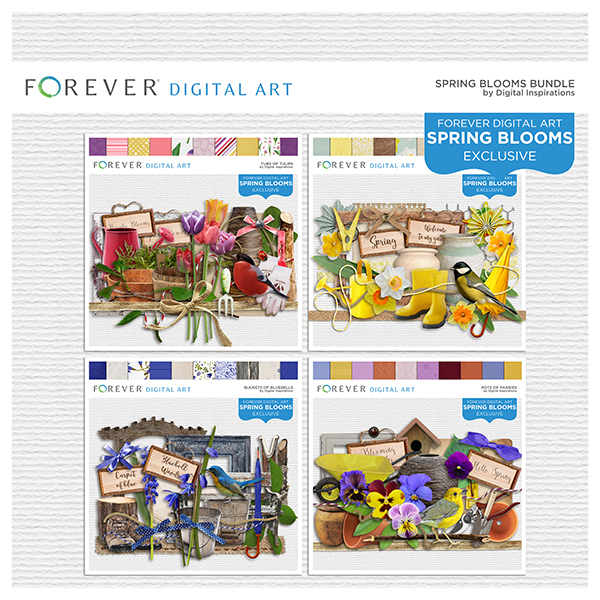 Spring Blooms Collection Digital Art - Digital Scrapbooking Kits