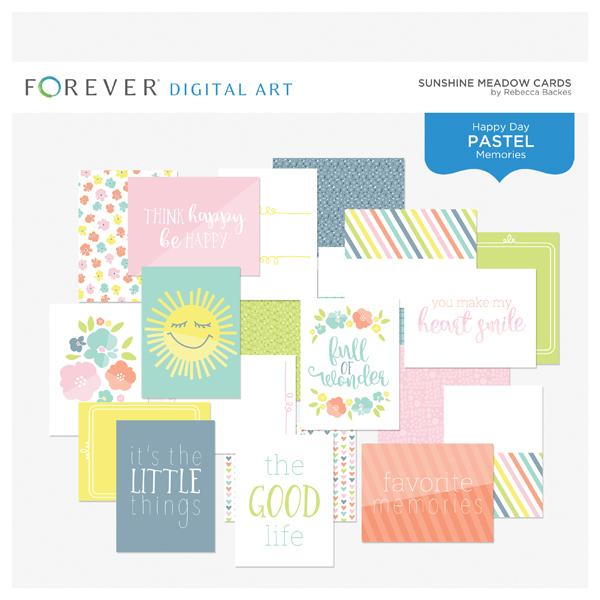 Sunshine Meadow Cards Digital Art - Digital Scrapbooking Kits